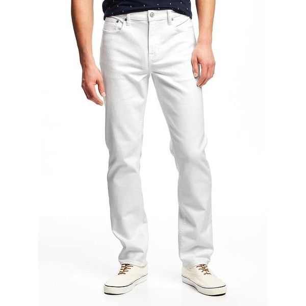Old Navy Mens Slim Built In Flex Stay White Jeans ($45) ❤ liked on Polyvore featuring men's fashion, men's clothing, men's jeans, white, old navy mens jeans, mens slim fit jeans, mens stretch denim jeans, mens white stretch skinny jeans and mens denim jeans