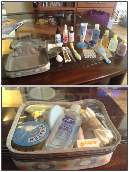 i was given a safety first baby kit that i turned into a emergency travel baby kit. shampoo, body wash, lotion, vaseline, polysporin, saline drops, gripe drops, tylenol drops, nail clipper, thermometer, toothbrush, soft brush, diaper rash cream, teething drops, qtips and hand sanitizer. perfect for a weekend or week long get away.