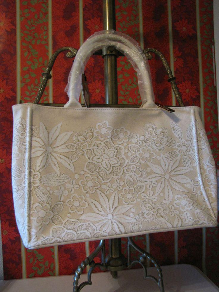NWT OSCAR de la RENTA Designer Beige Floral Canvas SPRINGTIME High End  Handbag #OscardelaRentaforTarget #Satchel