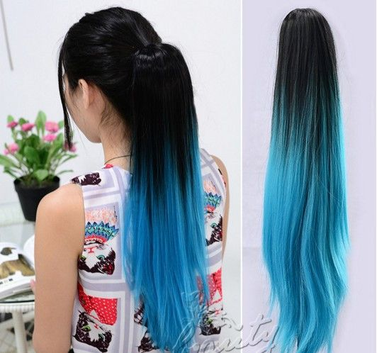 Straight Fashion Beautiful Extension Long Hair Sexy Long Straight Ponytail Dip Dye Colour Clip In Hair Extension Ombre Party