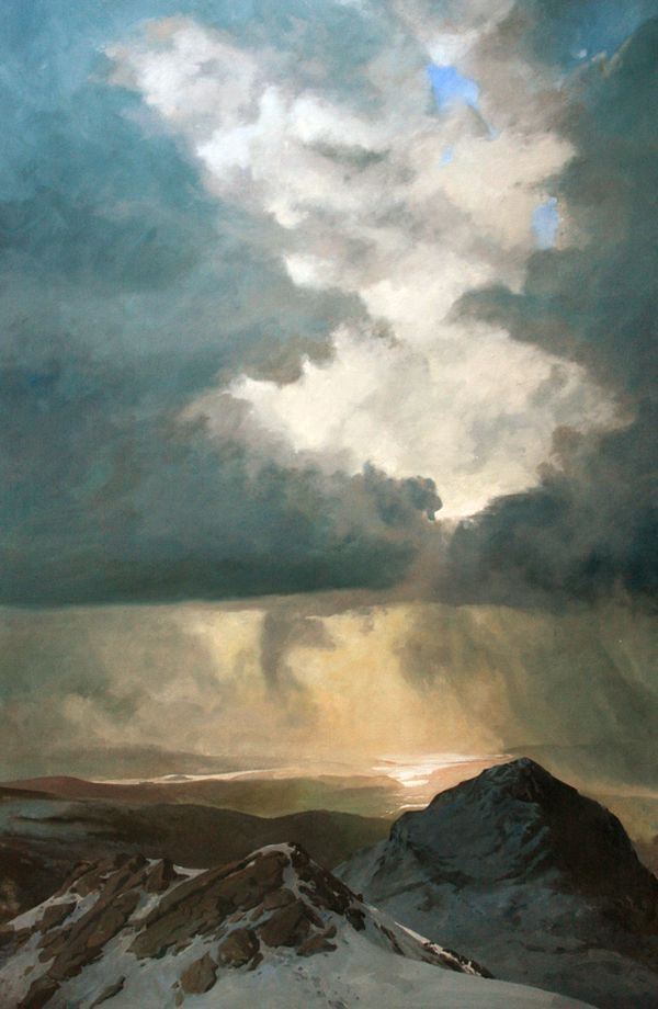 Snow showers over Traeth Mawr, an original oil painting by Rob Piercy