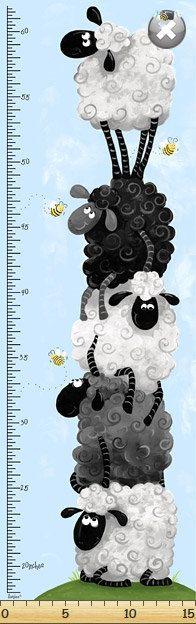 Susy Bee Lewe the Ewe Fabric Height Chart Panel (112 x 38cm) on Etsy, £4.50