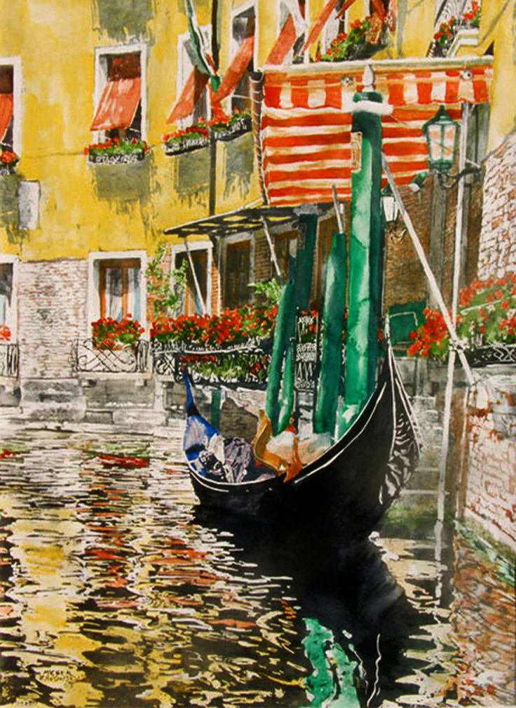 """bacino orseolo venice 30"""" x 22"""" micheal zarowsky / watercolour on arches paper / available $2100.00."""