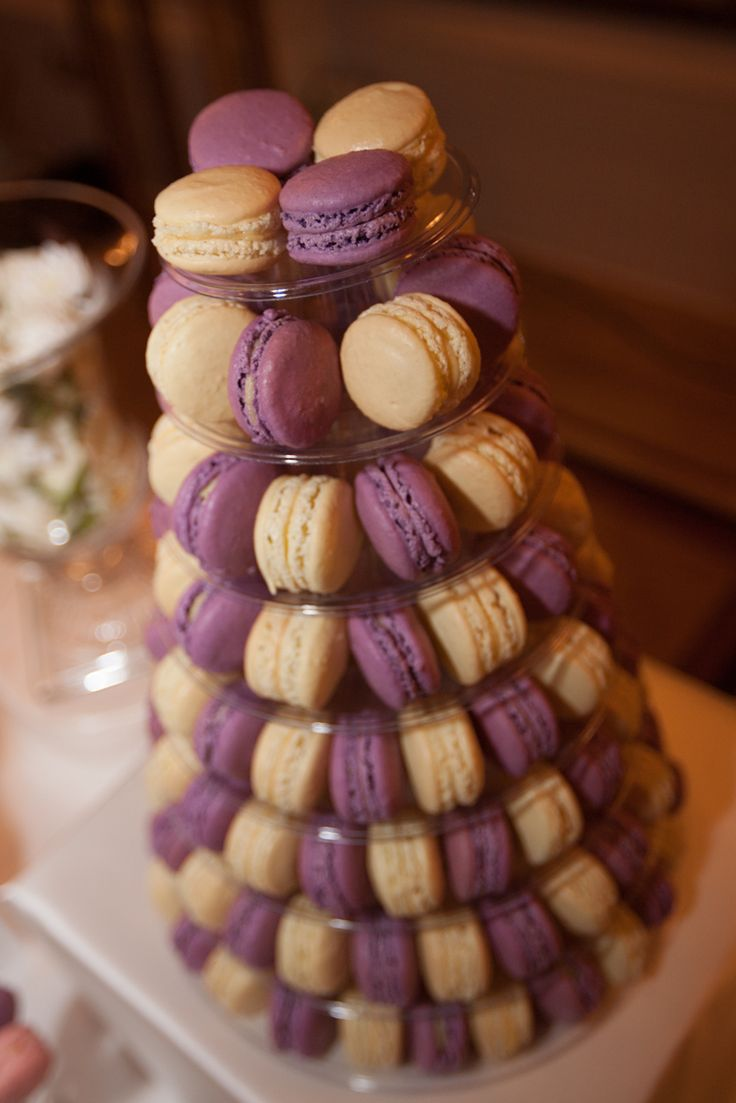 Contemporary Macaron Tower in Lavender and Vanilla by Ganache Macaron for the National Wedding Show Press Event in London.   Premium Handmade French Macarons in London www.ganache-macaron.co.uk