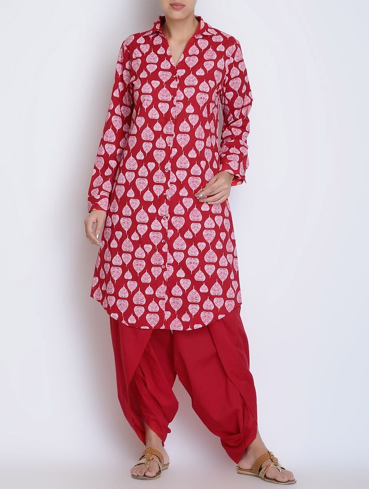 Red-Ivory Printed Button Detailed Roll-Up Sleeve Cotton Kurta A Bright Melange