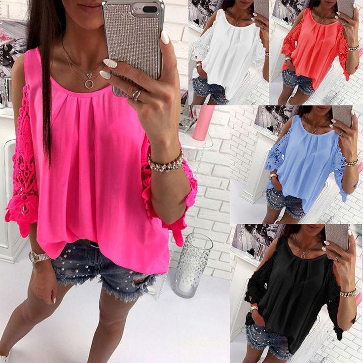 Women Blouses Lace Crochet Boho Tunic T-Shirt Casual Loose Chiffon Shirt Tops