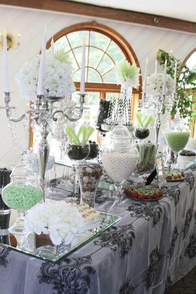 Elegant Candy Buffet Black White Apple Green Damask SimplisticCharmLinenRental