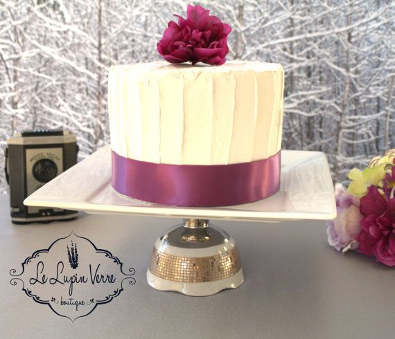 10 3/8 Handmade Square White Silver Wedding Cake by LeLupinVerre