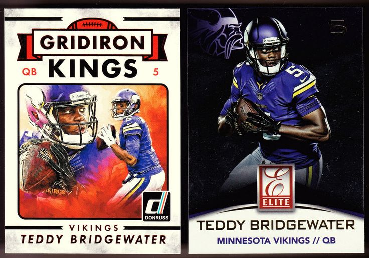 VIKINGS LOT OF 2 2015 TEDDY BRIDGEWATER ELITE & GRIDIRON KINGS RED PARALLEL