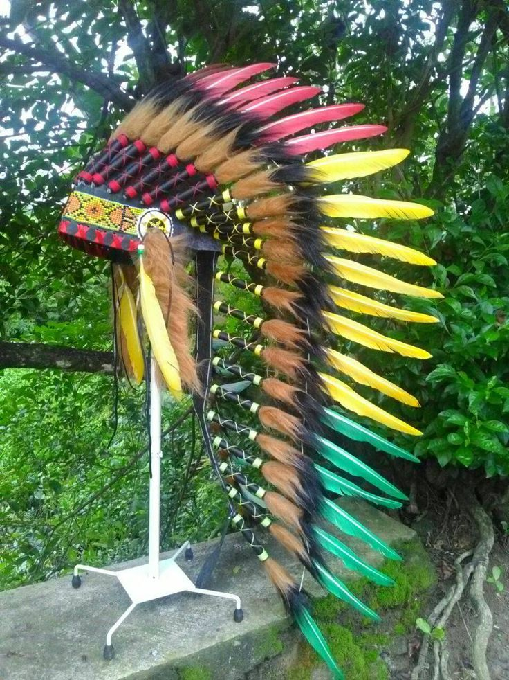 TOTAL SALE! Native American inspired Headdress, Chief Indian style Warbonnet, Rave, Burning Man, Festival, Rasta, Indian style Headdress by TheLandOfCockaigne on Etsy