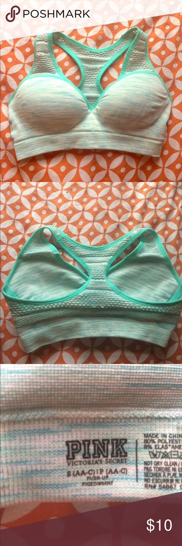 VS sports bra Pink sports bra (brand not color) that's a heather pattern w colors mint, blue and white.  Accidentally got the wrong size so it's never been worn PINK Intimates & Sleepwear Bras