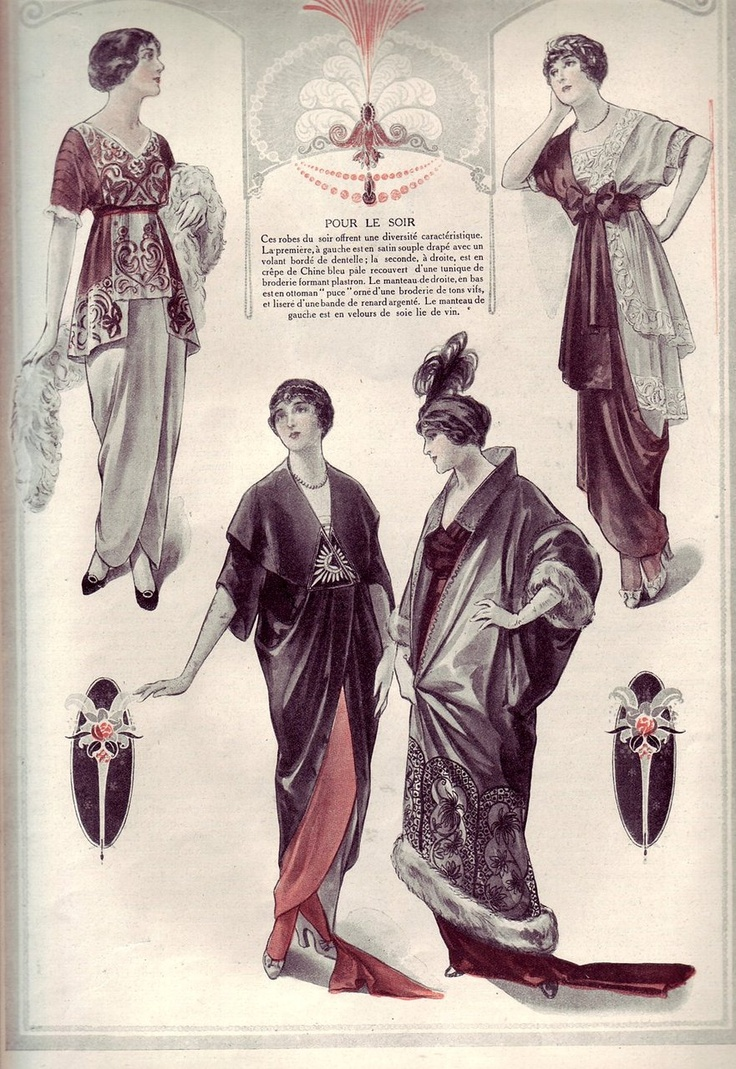 """Evening dresses and coats, 1913. The French text reads: """"These evening dresses offer characteristic diversity. The first, on the left is in soft satin draped with a lace trimmed overdress; the second, on the right, is pale blue crêpe de Chine covered with an embroidered tunic . The right bottom mantle is an Ottoman design adorned with brightly colored embroidery and edged with a band of silver fox fur. The left coat is burgundy silk velvet."""""""
