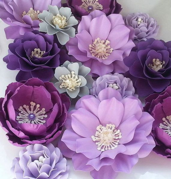 Paper Flowers - Wedding - Birthday - Special Events - Set of 24 - Shades of Purple - Mixed Sizes - Made To Order