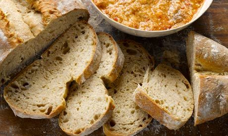 Dan Lepard's zopako with Castillian garlic soup: A bread designed to go with soup. Photograph: Colin Campbell for the Guardian