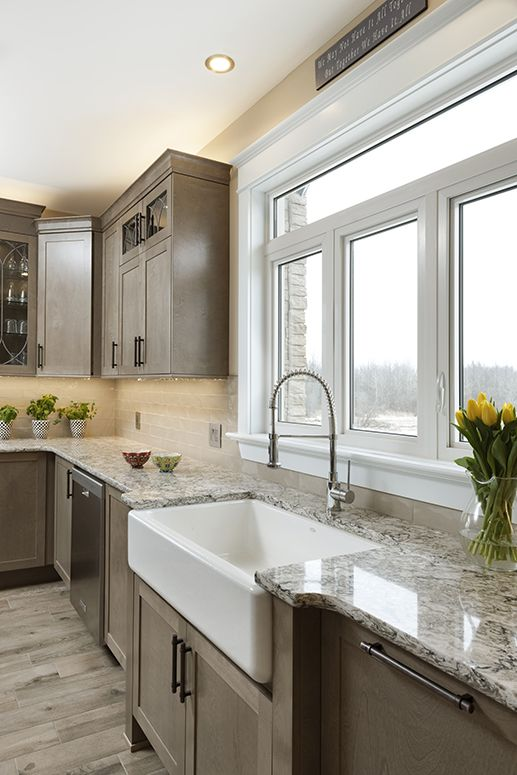 Kitchen Gallery - Taupe Cabinets and Flooring with Granite ...