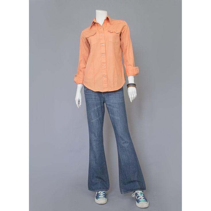Western Shirt - 70s Shirt - Cowboy Shirt - Orange Shirt - Pearl Snap Button Shirt - Cowgirl Shirt - Peach Shirt - Cotton Shirt - 1970s Shirt   #vintageclothing #vintagefashion #recyclinghistory
