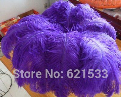 Бесплатная доставка! Украшения 100 шт./лот естественный страусовых перьев 12 - 14 дюймов 30 - 35 см окрашенная фиолетовый цвет свадьбы diy горячая