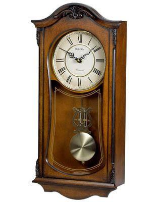 Bulova Cranbrook - Chiming Pendulum Wall Clock - Old World Walnut Finish