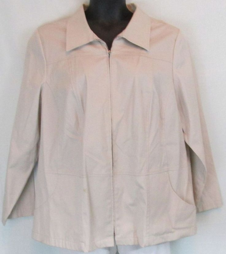 Lane Bryant Plus Size Khaki Beige Zip Up Biker Style Jacket Size 18/20 #LaneBryant #BasicJacket