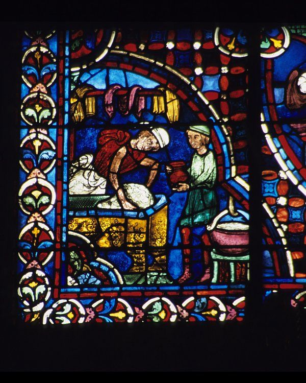 Bakers kneading dough. Chartes Cathedral. Early 13th century (1200-1230)