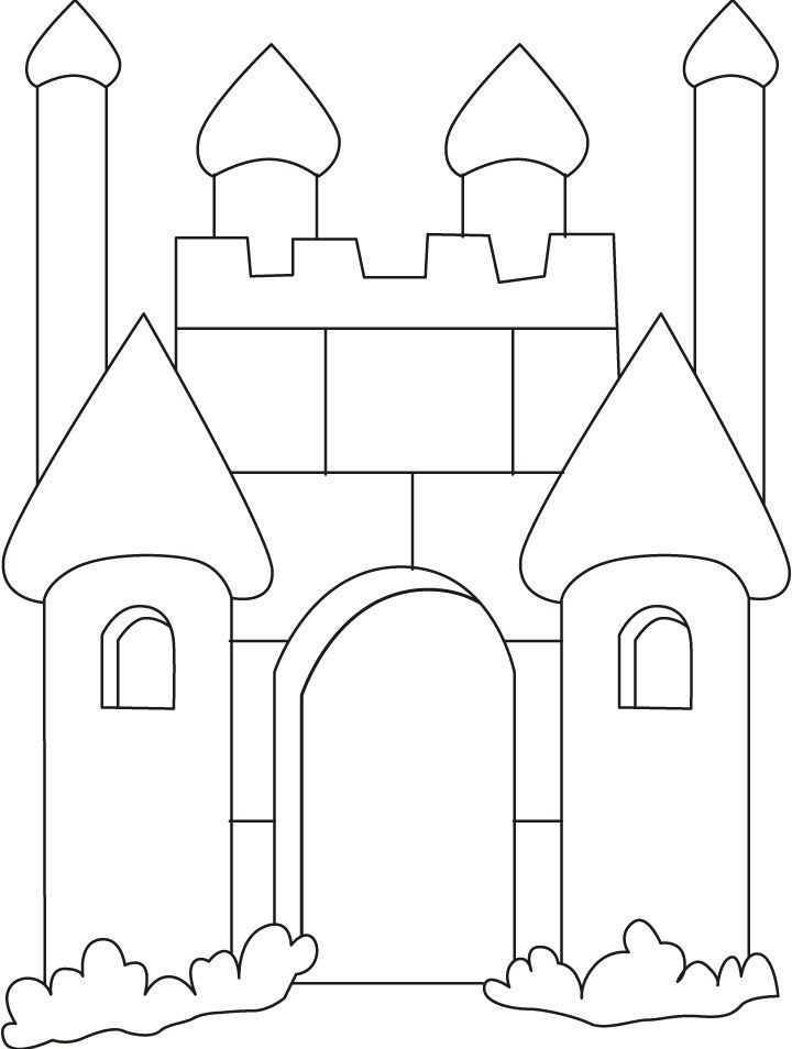 Medieval castle coloring page that was inspiration for an SG pattern