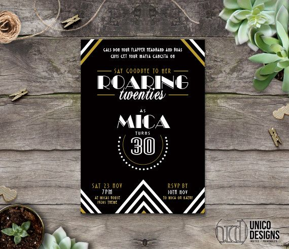 Roaring 20s Birthday Invitation / Gatsby by UnicoDesignsInvites