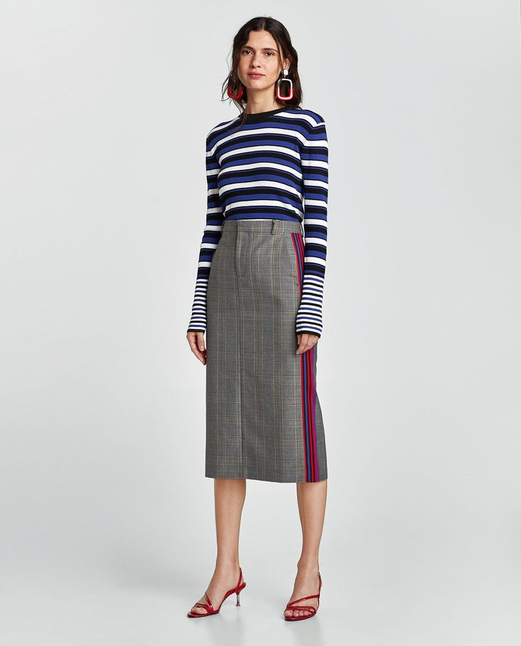 ZARA - NEW COLLECTION - CHECKED PENCIL SKIRT