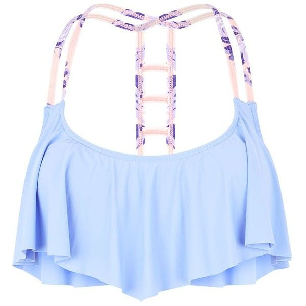 """Lilac Strap Black Flounce Bikini Top"" found on Polyvore"