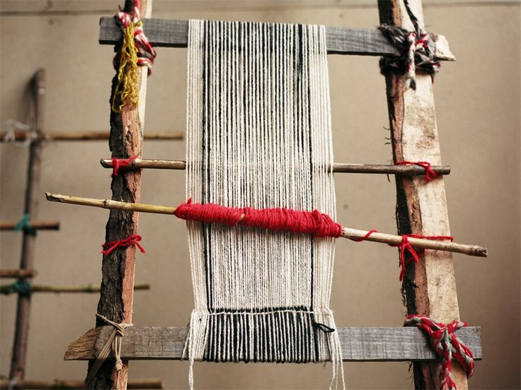 Mapuche women artisans traditional loom