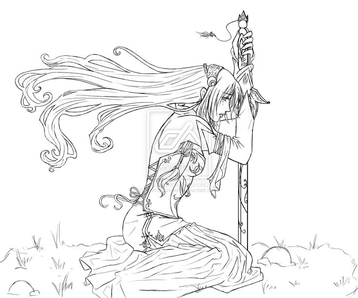 Elf Warrior Coloring Page CSS Elf Lineart by