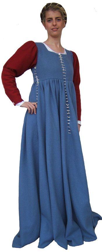 Gamurra, veste femminile, databile intorno al 1460, utile anche in gravidanza: le stringature laterali permettono di allargare l'abito con i laccetti italia