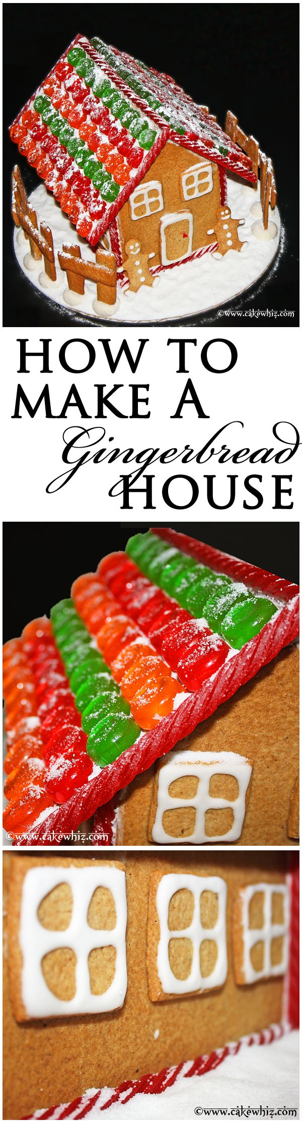 GINGERBREAD HOUSE... This step-by-step tutorial will show you that making gingerbread houses is easy and fun! From cakewhiz.com