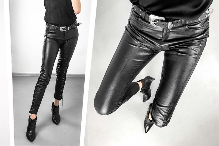 111816 silk top with lace, leather pants, mango belt & zara shoes | BITEDELITE