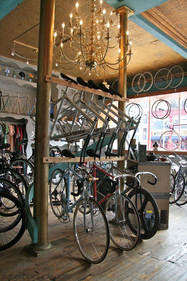 mountain display to accommodate more bikes. create mountain feel under bikes