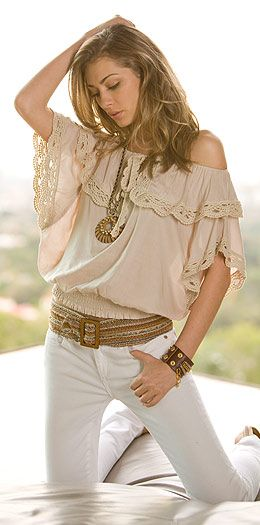 .Summer Fashion, Lace Tops, Style, Shirts, Closets, Clothing, Fashion Trends, Cute Outfit, White Jeans