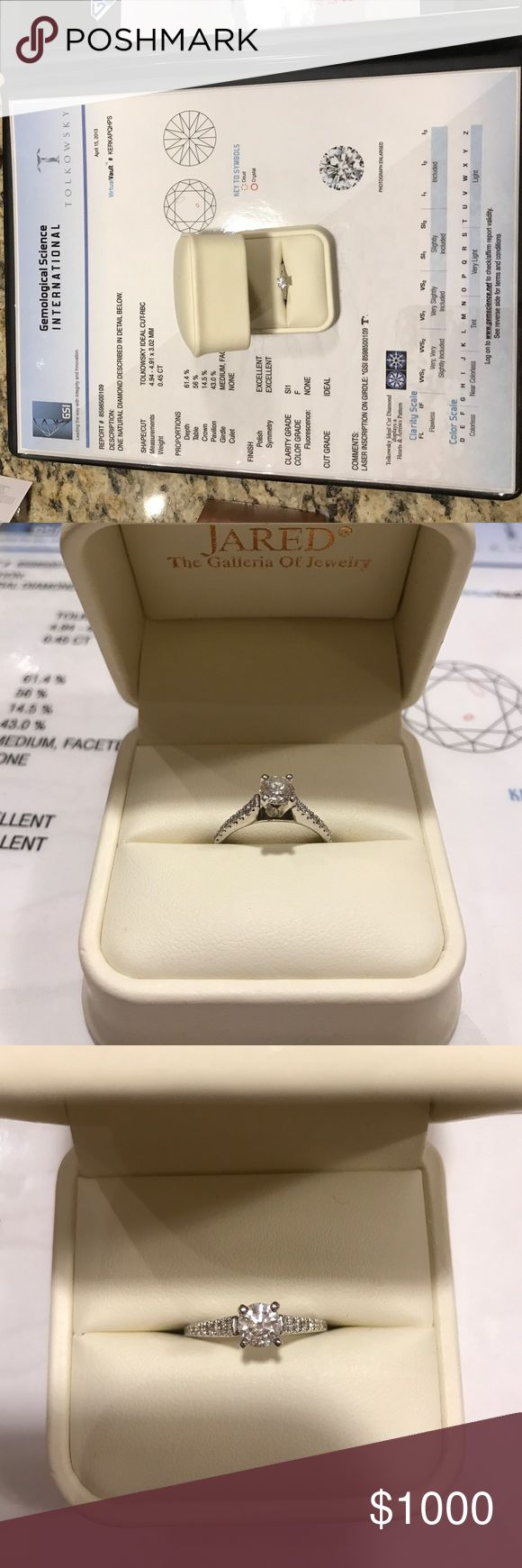 Jared Tolkowsky 0.45 carat engagement ring Jared Tolkowsky 0.45 carat engagement ring. Ideal cut round. Clarity - SI1 slightly included. Color - F colorless. Size 7. Jewelry Rings