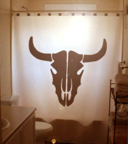 Cow Skull Shower Curtain bull head by CustomShowerCurtains on Etsy, $68.99 loft shower curtain..brings in black from counter top