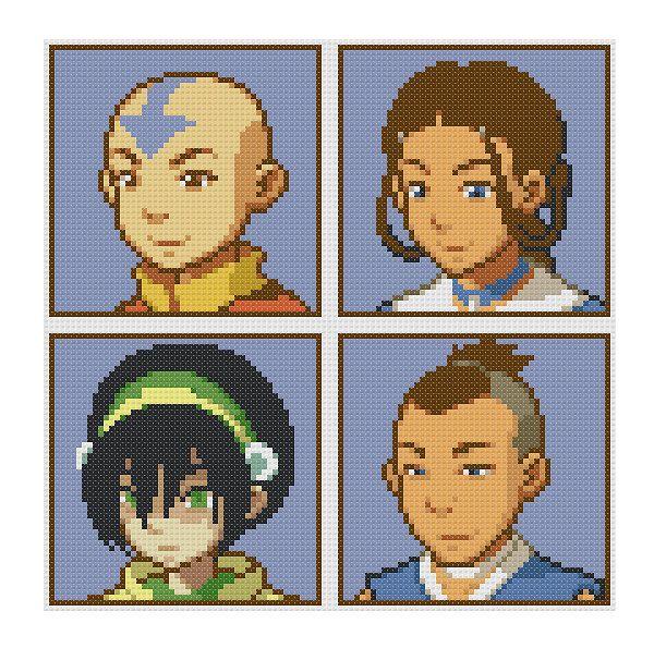 Free Avatar Portraits Cross Stitch Pattern Avatar the Last Airbender Aang Katara Toph Sokka by SpriteStitches on Etsy