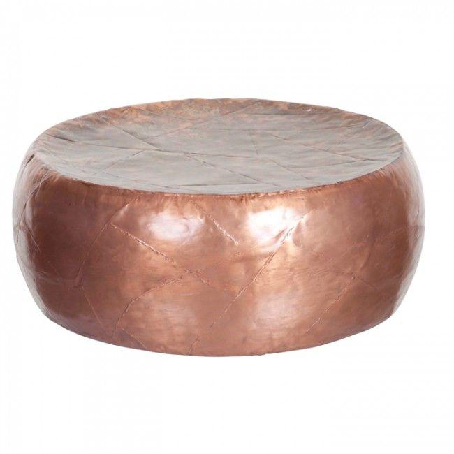 Bijzettafeltje metaal rond koperkleur - salontafel/bijzettafel - meubels