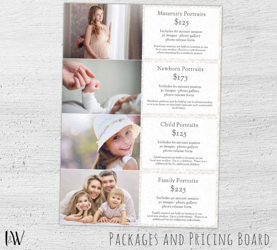 Photography Price List Pricing Guide Photoshop Template For Photographers Photographers Price List Photographer Price List Templates Photographer Prices