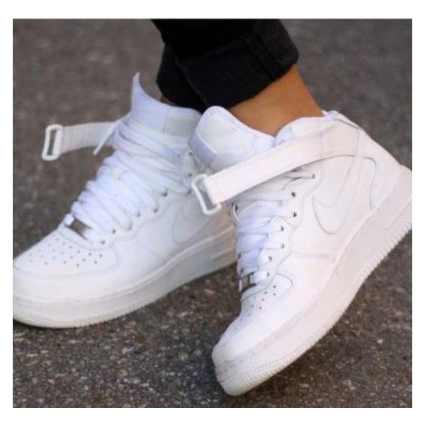 Shoes: nike sporty white sneakers nike white nike air white high top... ❤ liked on Polyvore featuring shoes, sneakers, white hi tops, nike trainers, white hi top shoes, high-top sneakers and high top trainers