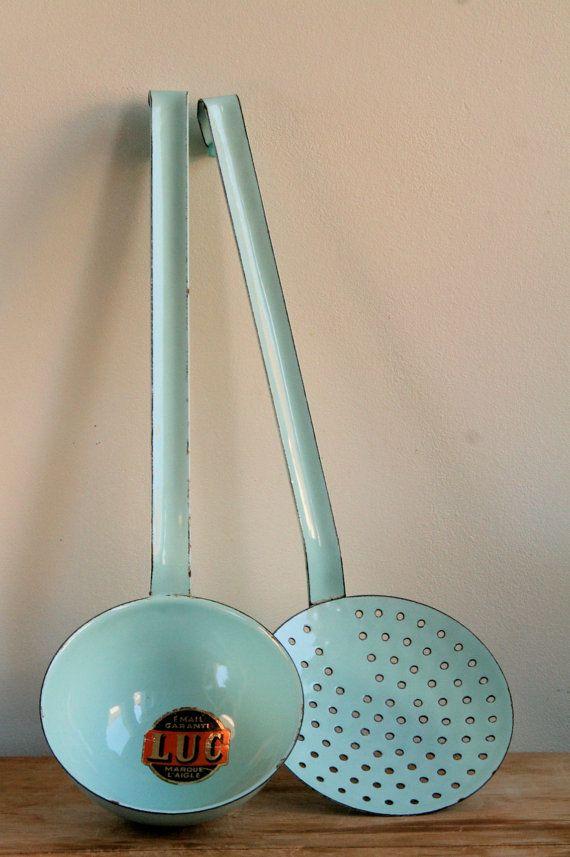 Vintage French Enamel Utensils In Duck Egg Blue Ladle