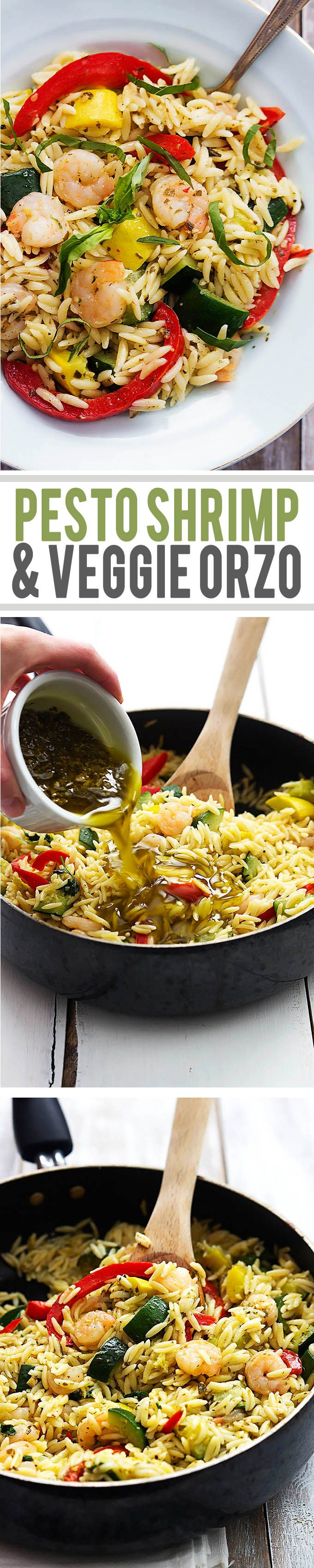 Light and flavorful shrimp and summer veggie orzo tossed with bright pesto vinaigrette.