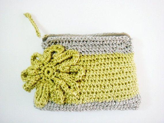 Flor grande de neón amarillo Crochet gris embrague por faima