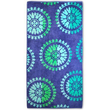 Superior Cotton Jacquard Oversized Beach Towel, Blue