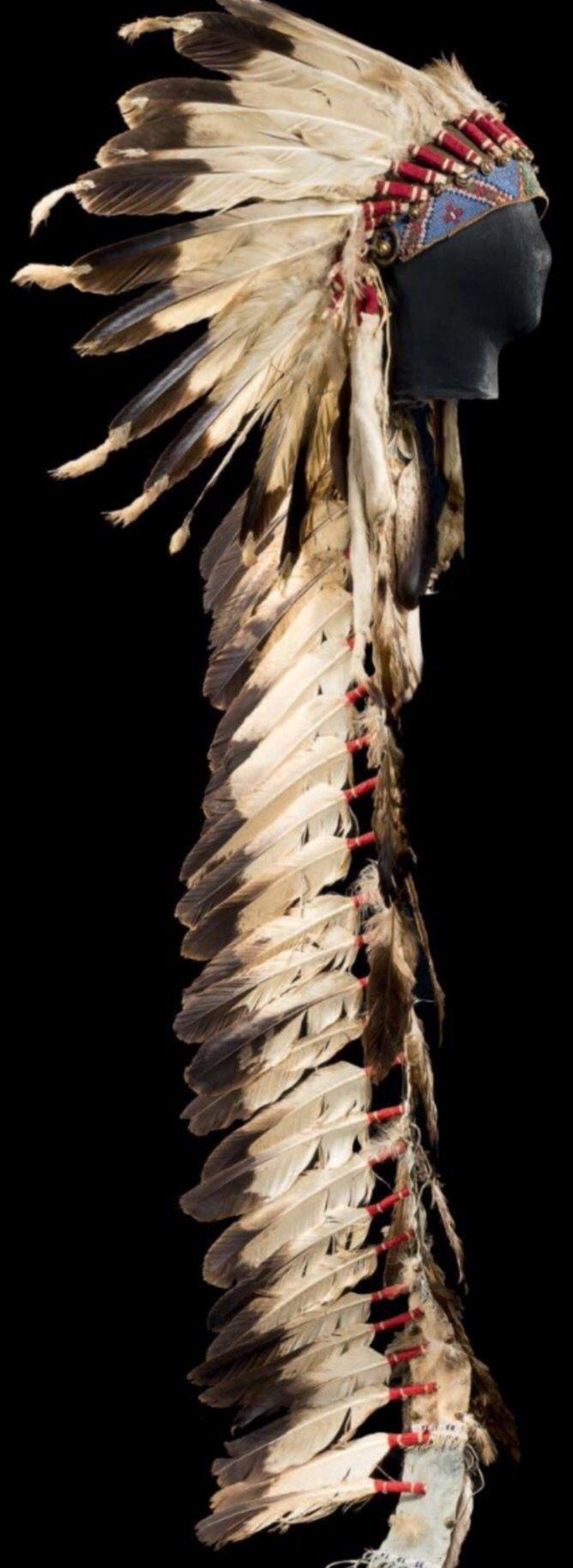 Головной убор, Кроу. Период 1890. Орлиные перья, мех горностая, кожа, бисер цвет голубой, темно-синий, зеленый, желтый, белый, красный, бубенцы, ткань. Высота: около 43 см, длина со шлейфом: около 166 см. Из Коллекции Mario Luraschi. Binoche et giquello. Декабрь 2013.
