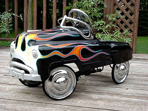 peddle car with flames