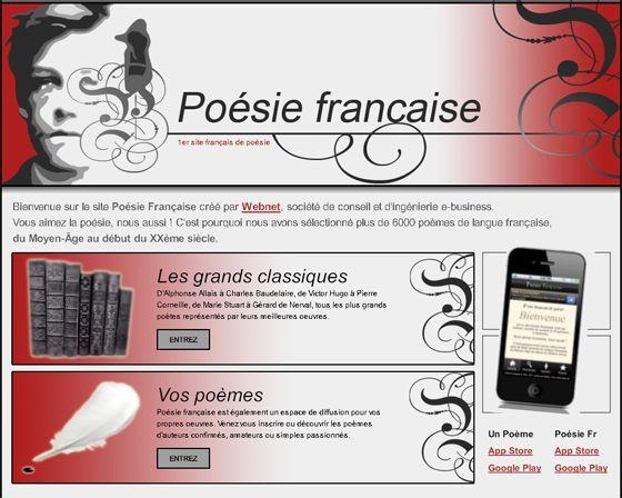 Poèmes de langue française, du Moyen-Âge au début du XXème siècle.