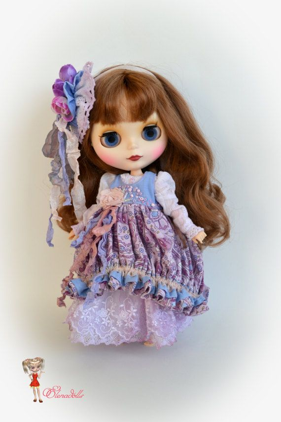 Country style. lilac set for Blythe.sweet violet.