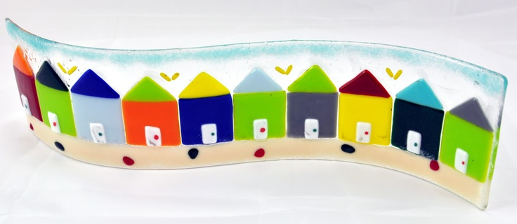 Beach huts fused into a glass wave. Inspired by my visit to Southwold on a sunny day. Only £35